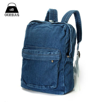 New 2016 Unisex Backpacks Denim Canvas School Bags Soft Jean Cloth Hand Washed Mochilas Escolares Men Women Casual Rucksacks