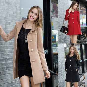Winter Autumn Women Fashion Single-breasted Slim Long Sleeved Coat Womens Overcoat F_F = 1904488836