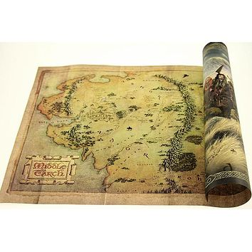 Hobbit retro Kraft Paper Map Classic Movie Poster vintage Wall Art Crafts Sticker Living Room Paint Bar Cafe Decor 42x30cmXN-019