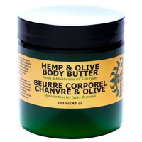 Hemp and Olive Body Butter, Natural for Dry Skin, with Coconut Oil, Organic Beeswax