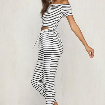 White Striped Drawstring 2-in-1 Elastic Waist Fashion Long Jumpsuit