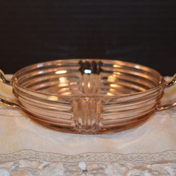Anchor Hocking Manhattan Pink Depression Glass Bowl Vintage Ribbed 2 Handle Relish Bowl Candy Dish Shabby Chic Servingware Holiday Pink Dish