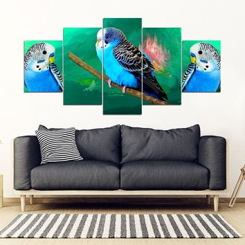 Budgie Or Budgerigar (Common Parakeet ) Parrot Print 5 Piece Framed Canvas- Free Shipping