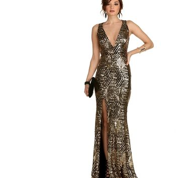 Sara- Gold Sequin Dress