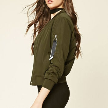 Ribbon Panel Bomber Jacket