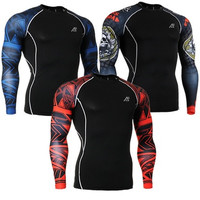 Mens Long Sleeves Compression Tight Skin Sides 3D Prints Tops Shirts Male Running Training Workout Fitness Sportswear  [8833902348]