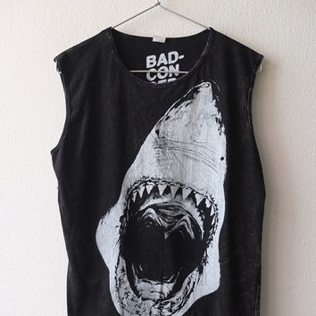 Jaws great white shark goth rock Fashion Stone Washed Tank Top Vest M