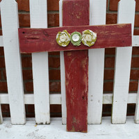 Barnwood Cross red with fabric flowers home decor mantle decor wall decor christmas gift