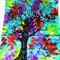 Hang Beach Tapestry Tie Dye Mandala Throw Hippie Bohemian Tie Dye Tree Tapestry