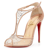 Christian Louboutin Patinana Strass Red Sole Sandal, Nude