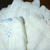 Victorian Baby Gowns, White Hand Embroidered Vintage Lot of Four