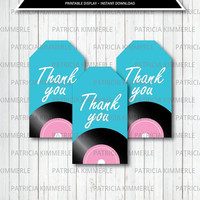 Printable Thank You Tag, 50s Rock and Roll, Birthday, Party Decorations, Favors, Retro, Dinner, Ice Cream Parlor Favor Tags, Loot Bag Tag