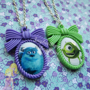 Monsters Inc necklace Mike and Sulley pendant disney bow resin accessories cute summer fun university Christmas gift Halloween