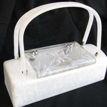Vintage White Pearlized Lucite Purse with Clear Carved Lucite Lid - Unique Shape - Box Purse