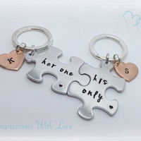 Her one his only-jigsaw puzzle keyrings -personalised keychain -couples Gift- girlfriend/boyfriend gift-Anniversary Gift-valentines day