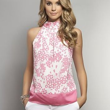 Floral-Print Halter Blouse - White Colorblock - New York  & Company