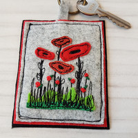 New home-floral-flower keyring house applique... poppy flower embroidery key charm your moving- home sweet home- new adventure-key