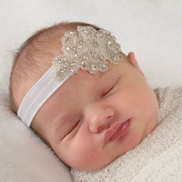 Rhinestone Headband, White Baby Headband, Baptism Headband, Baby Shower Gift, Christening Headband, Christening Hair Bow, Newborn Photo Prop
