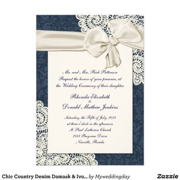 Chic Country Denim Damask & Ivory Lace Wedding Personalized Invitations from Zazzle.com