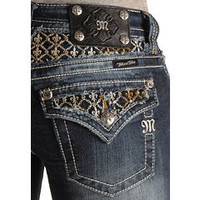 Sheplers: Miss Me Embellished Fleur-de-lis Yoke & Pocket Slim Fit Boot Cut Jeans - 33 1/2""