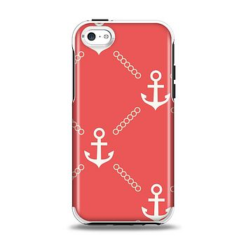The Coral & White Vintage Solid Color Anchor Linked Apple iPhone 5c Otterbox Symmetry Case Skin Set