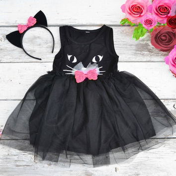 Black Cat Tutu Dress Halloween Costume with Ears