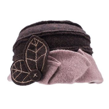 DCK4S2 Lawliet Two-Tone Womens Ladies Winter 1920s 100% Wool Leaf Bucket Beret Cap Hat A375