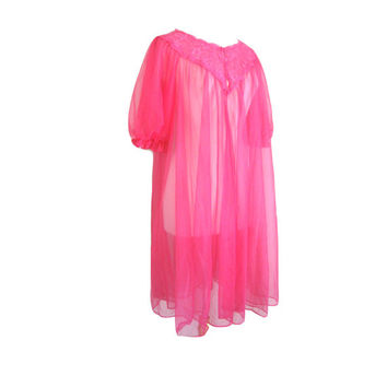 Sheer Fuschia Hot Pink Peignoir Robe Size Medium