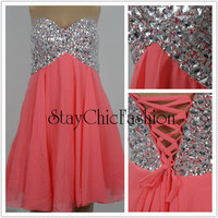 Coral Strapless Rhinestone Beaded Top Short Prom Dress, Sparkly Top Coral Chiffon Dress, Coral Homecoming Dress 2015
