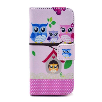 Adorable Owl Leather Flip Case For Iphone 5c With Card Holder