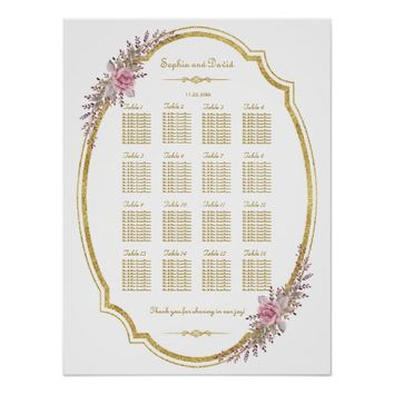 Elegant Blush Floral Gold Frame Seating Chart