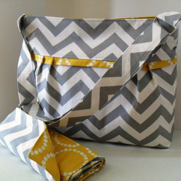Large Diaper Bag Set Made of Chevron and Yellow - Adjustable Strap