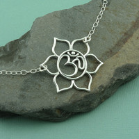Large Om Lotus Necklace - sterling silver om pendant - yoga jewelry - lotus flower jewelry - handmade