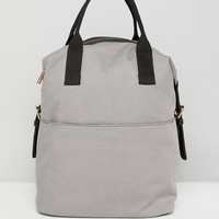 ASOS Zip Over Canvas Backpack with Double Handle at asos.com
