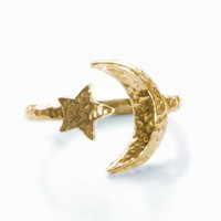 Moon and Star Ring - Brass
