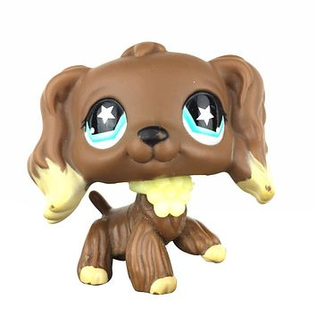 New #960 Littlest Pet RARE Chocolate Brown Cocker Spaniel Dog Star Eyes LPS