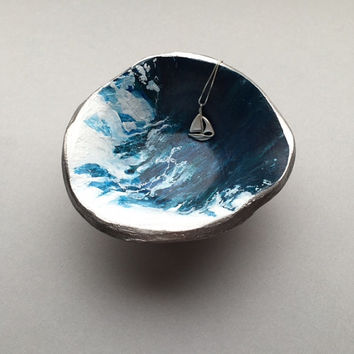 High Tides Ocean Inspired, Nautical Jewelry Dish, Surfs Up Beach Decor, Ocean Art, Ocean Waves Polymer Clay Ring Dish, Hand Painted Acrylic