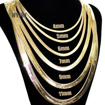 CREYA8C Mens Herringbone Yellow 14k Gold Plated 4 to14mm wide 20' 24' 30' Chain Necklace