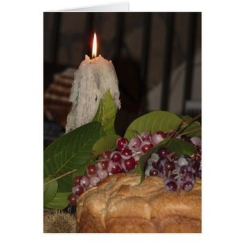 Candle and Grapes, Blank Inside, Romantic Card