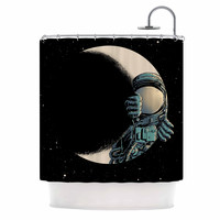 "digital carbine ""Crescent Moon"" Black Illustration Shower Curtain"
