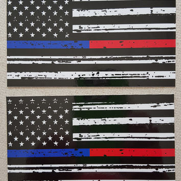 "TATTERED Thin Blue & Red Line FireFighter Police respect flag Vinyl Decal Sticker 5""X 3"" Pack of 2 USA"