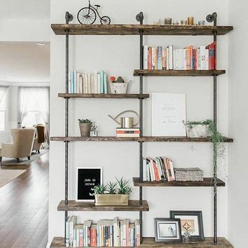 7 Tiers shelf bookcase iron pipe shelve pipe TV Stand modern wood shelve industrial shelve pipe shelves storage shelves Free Shipping
