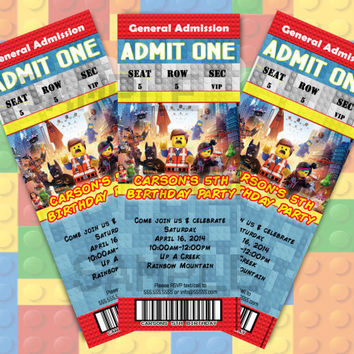 PERSONALIZED Birthday LEGO Movie Party Invitation Admission Ticket 12ct 40ct Fast