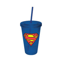 Superman Logo Travel Cup With Straw