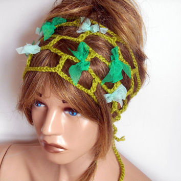 Knitting head, Handmade headband, Crochet Hair Band, Head Scarf , Green Hair Band, Hair Accessories, Boho Headbands, Head, Bohemian Headband