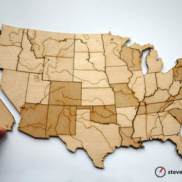 USA Rivers & Lakes Map Puzzle  Birch by StevenMatternDesign