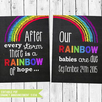 Rainbow Babies Twin Pregnancy Announcement Chalkboard // Pregnancy Reveal after a loss // Twins announcement // PDF you edit w/ADOBE READER