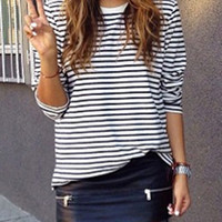 White Black Long Sleeve Striped T-Shirt -SheIn(Sheinside)