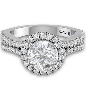 Fana Round Cut Halo Split Shank Diamond Engagement Ring