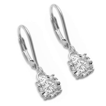 .925 Sterling Silver Brilliant Round Cut Drop Dangle Clear CZ Stud Ladies Earrings in 2mm-10mm with Lever Back